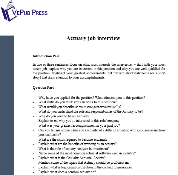 Actuary job interview   Business Service   Vepub