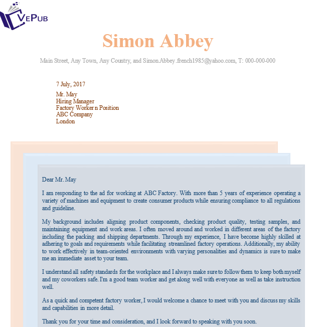 Factory-Worker-Cover-Letter | Business Service | Vepub Press
