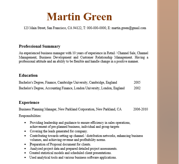 Business Manager Resume | Business Service | Vepub