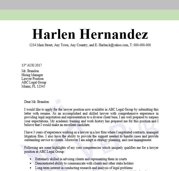 Lawyer Cover Letter | Business Service | Vepub
