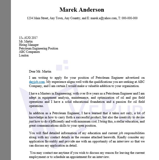 Cover Letter Petroleum Cover Letter