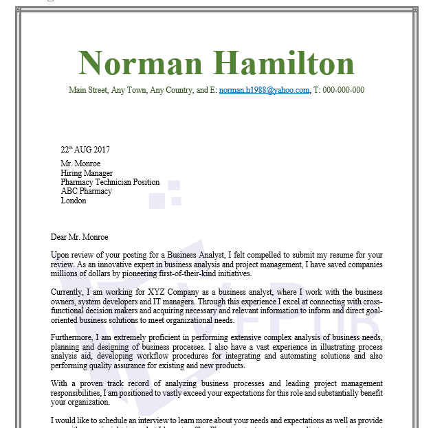 business analysis cover letter