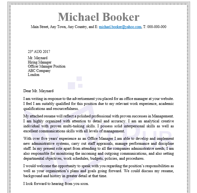 Officer Manager Cover Letter | Business Service | Vepub