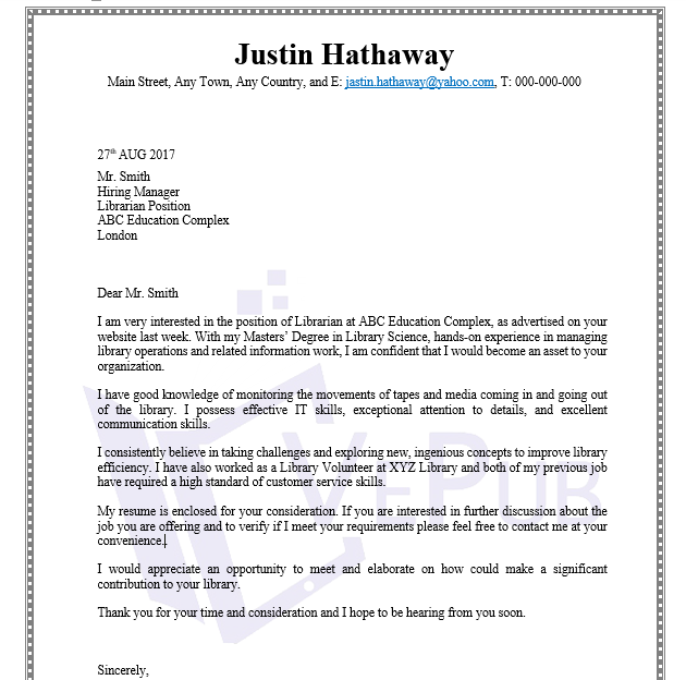 Cover Letter For Library Job from www.vepub.com