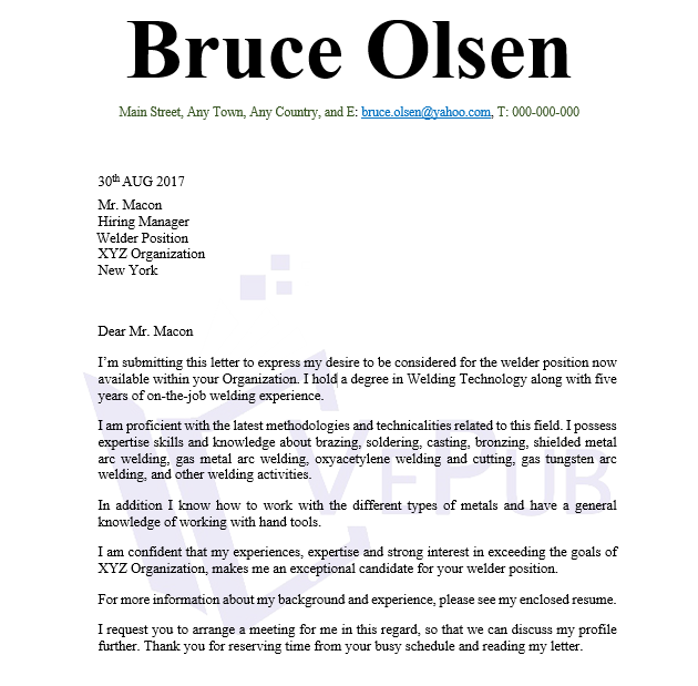 Cover Letter, Welder