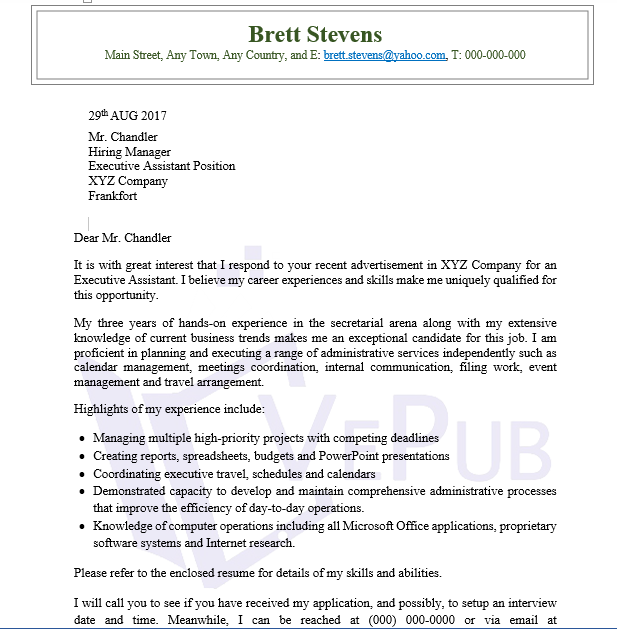 Network Analyst Cover Letter | Business Service | Vepub