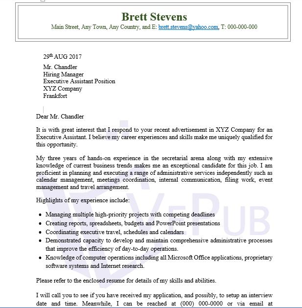 Cover Letter, Executive Assistant | Business Service | Vepub