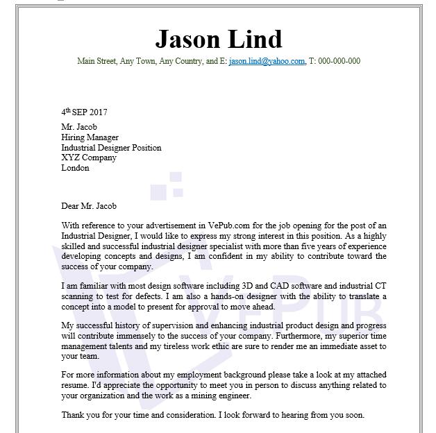 Cover Letter Industrial Designer