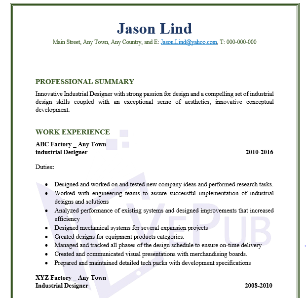 industrial designer resume business service vepub