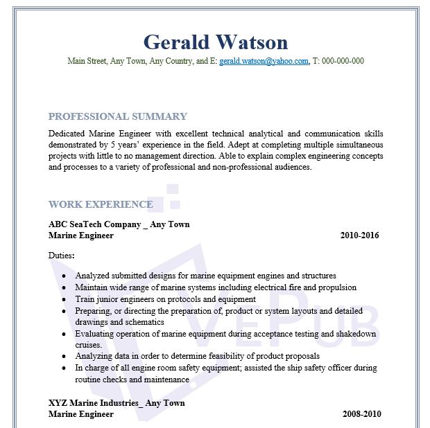 marine engineer resume