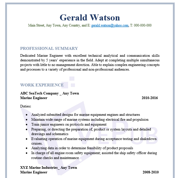 Marine-Engineer-Resume | Business Service | Vepub