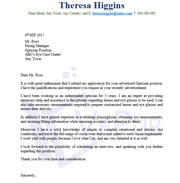 Optician Cover Letter Business Service