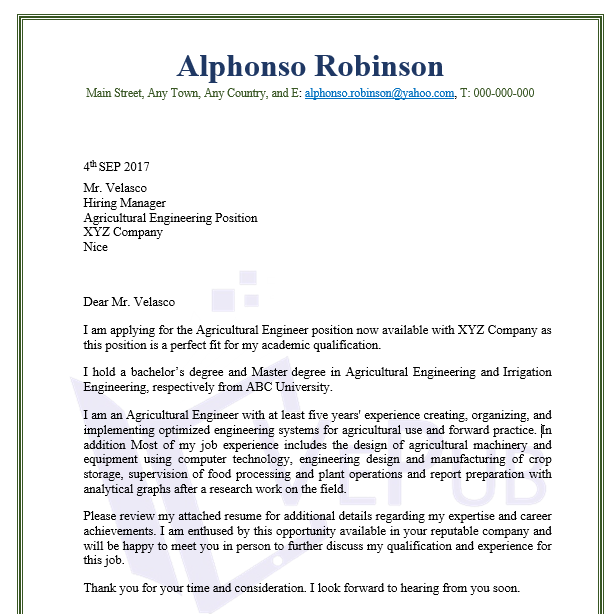 Agricultural Engineering Cover Letter | Business Service | Vepub
