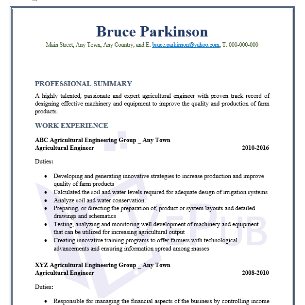 Agricultural Engineering Resume | Business Service | Vepub