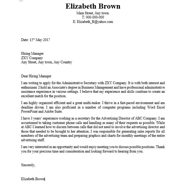 Secretary Cover Letter | Business Service | Vepub