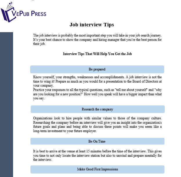tips for job interview