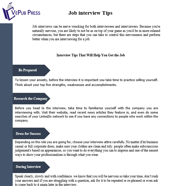 Job Interview Tips To Help Preparing For An Interview