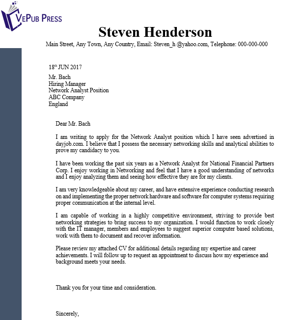 Network Analyst Cover Letter Business Service Vepub